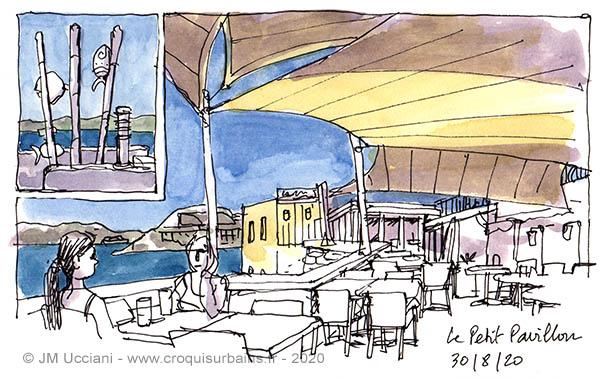 Le petit Pavillon à Marseille ; guinguette en bord de mer sur la Corniche.