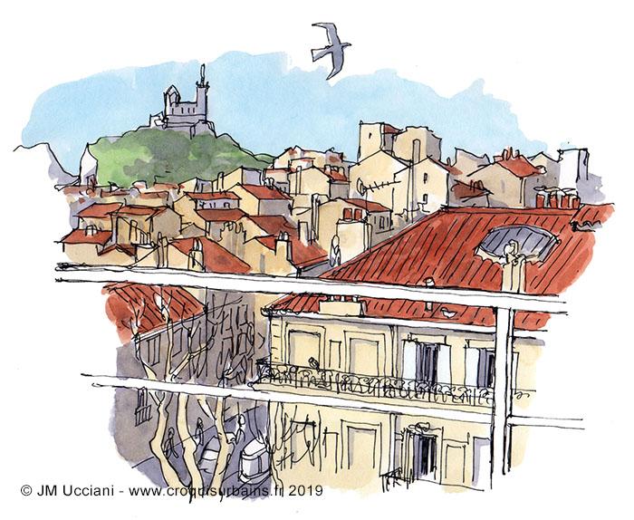 Vues sur les toits et Notre-Dame de la Garde
