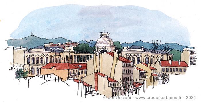 Vue sur les toits et le Palais Longchamp.