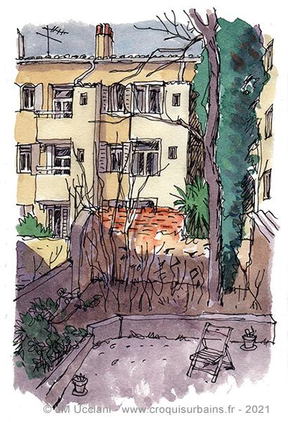Jardin intérieur dans le centre ville à Marseille