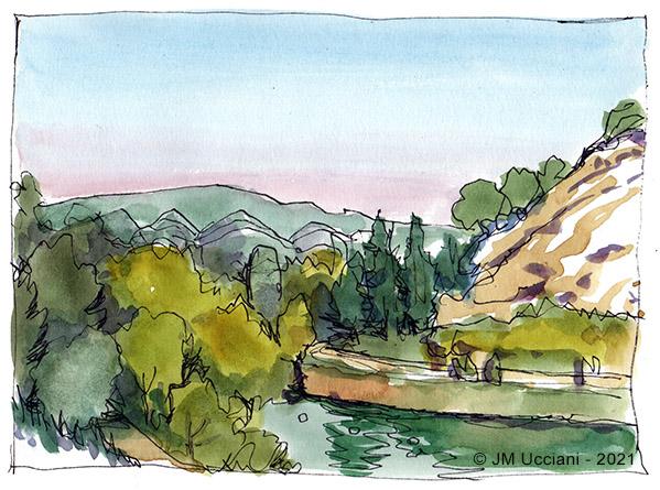 Un bout de lac et un bout d'Alpilles sur fond de Luberon
