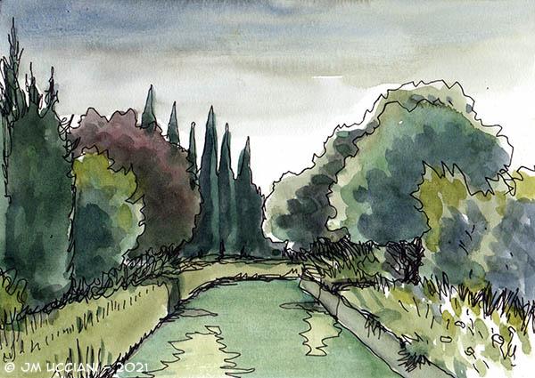 Canal sous ciel gris