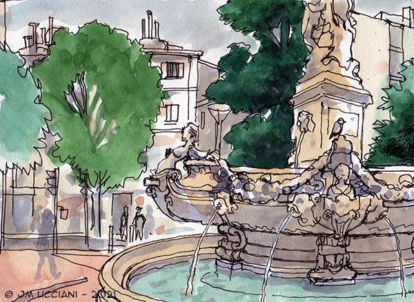 La fontaine de la place Estrangin à Marseille
