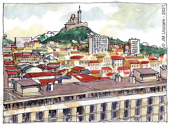 Marseille par temps gris vu depuis les tours Labourdette