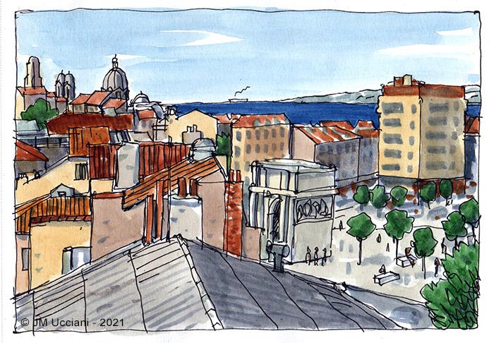Les toits de Marseille quartier Porte d'Aix.