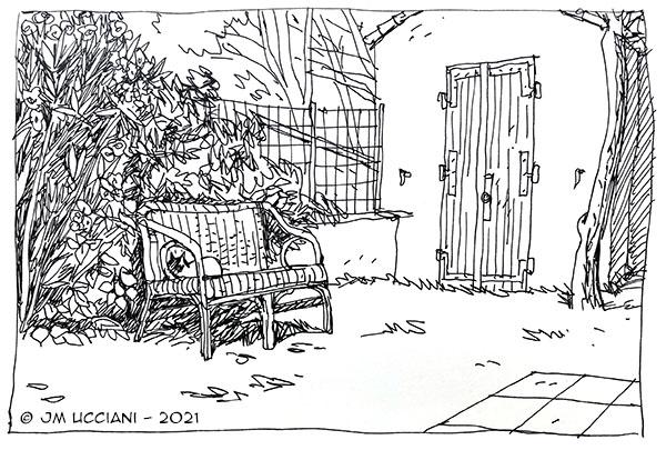 Chat sur canapé de jardin