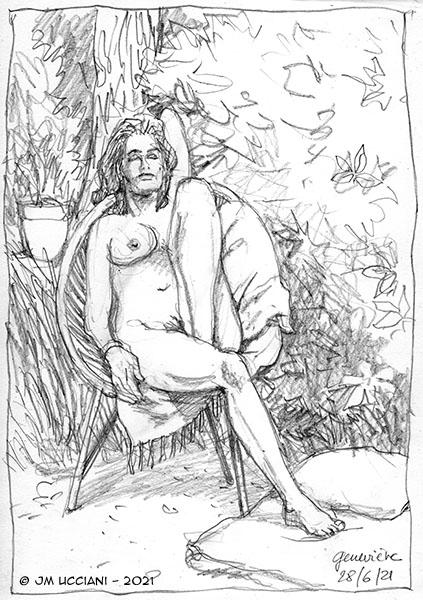 Étude de nu dans un jardin. Esquisse au crayon 21/29,7 cm