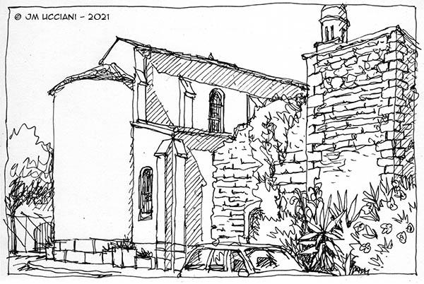 Derrière l'église de Mollégès