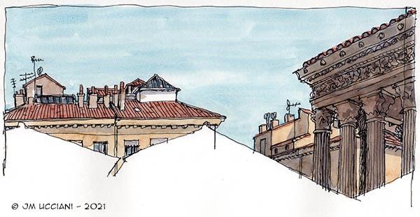 Toits et hauteurs à Nîmes