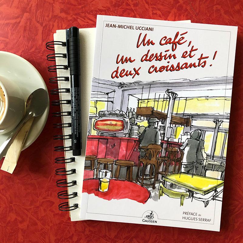 Un café, un dessin et deux croissants