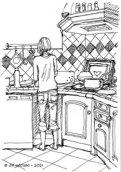 Femme dans la cuisine