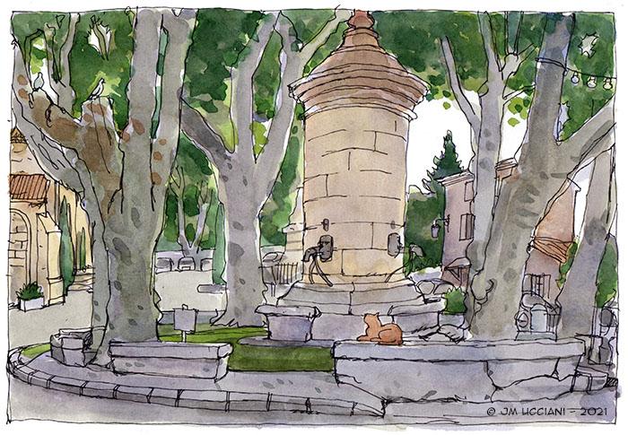 La place de la fontaine à Robion